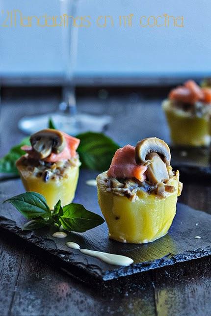 Patatitas rellenas de champiñones y salmón con muselina de estragón de Pedro Larumbe. Gourmet 30 chefs con Thermomix
