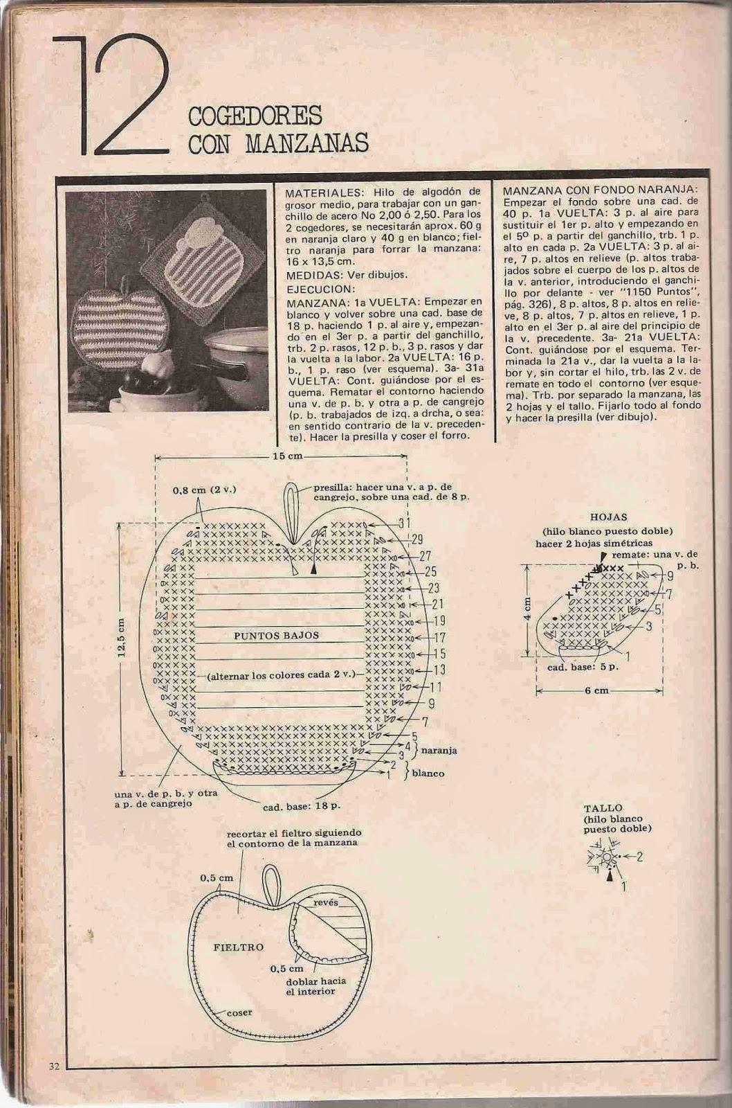 #86 Cogedores con Manzanas a Crochet