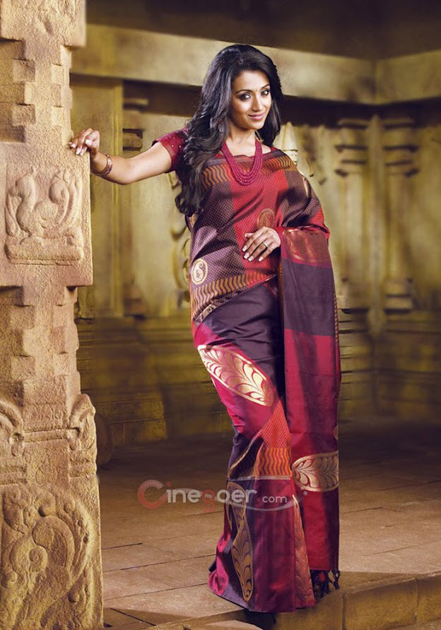 Trisha in silk saree -  Trisha Samudrika Pattu Pothys Silk Saree PhotoShoot Pics