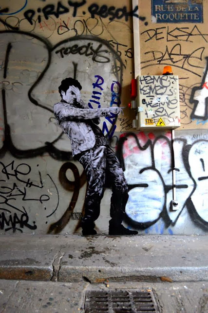 """The Red Button"" New Street Art Installation By Levalet on the streets of Paris, France. 2"