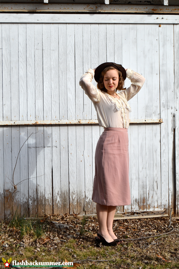 Flashback Summer: Pink Lady - 1910s Edwardian Blouse, 1930s hat, 1940s shoes, 1950s blouse, 1980s necklace