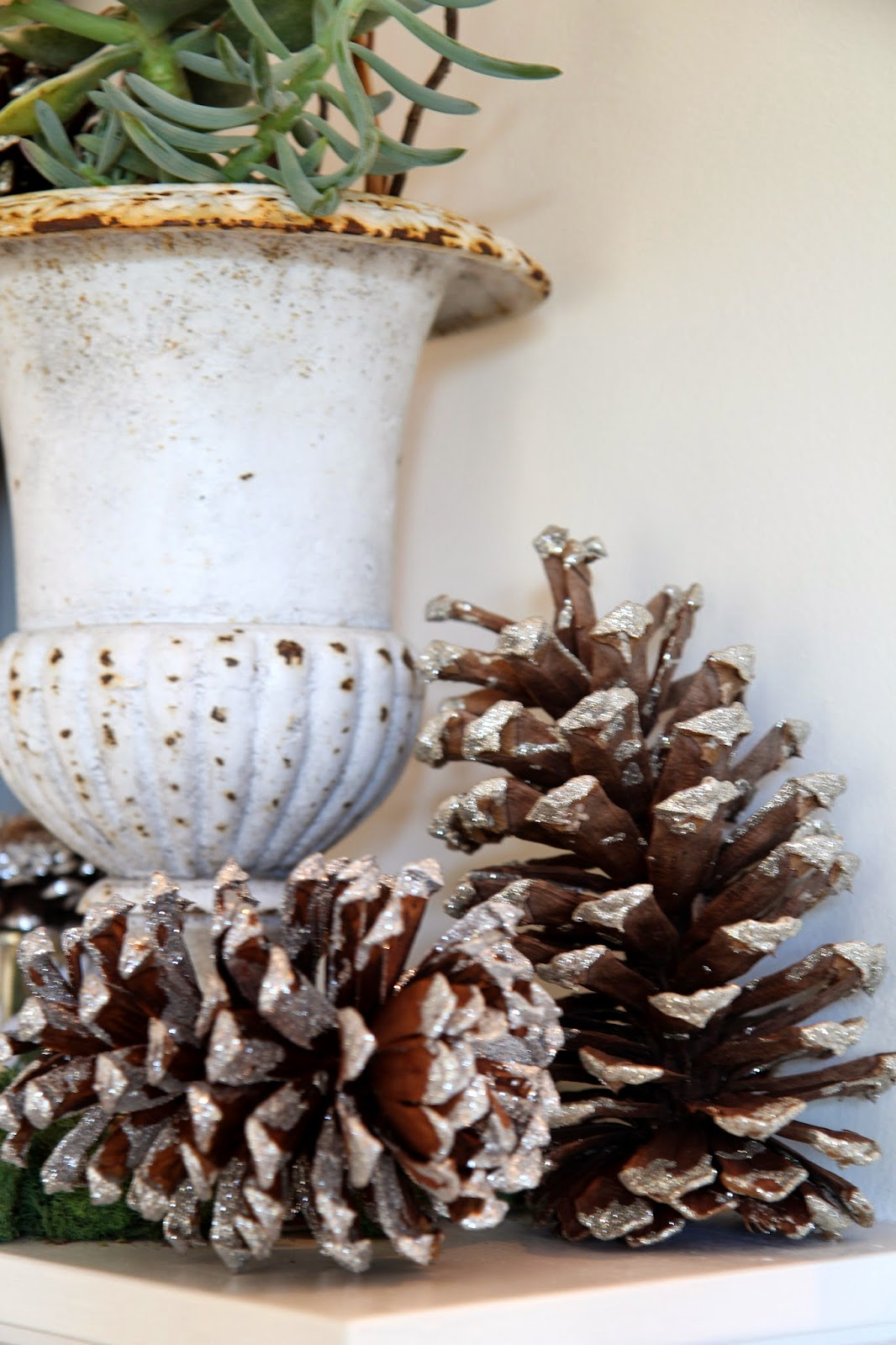 Large Glittered Pinecones