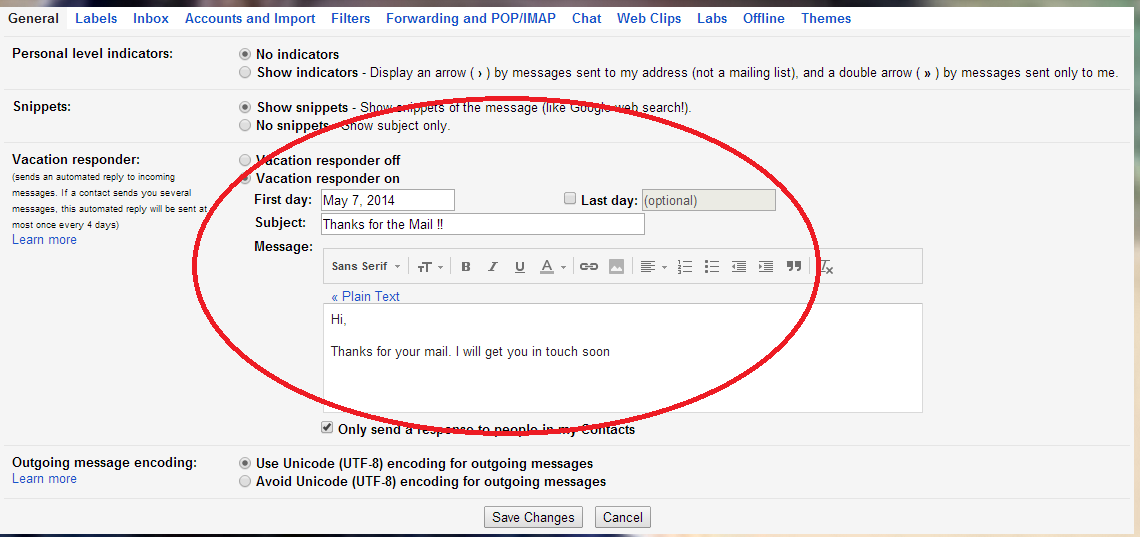 Filling Details in Vacation Responder in Gmail http://letmeconnect.blogspot.in/