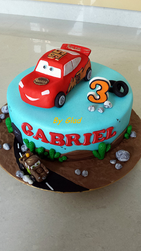 Glads passion Cars theme cake for Gabriel