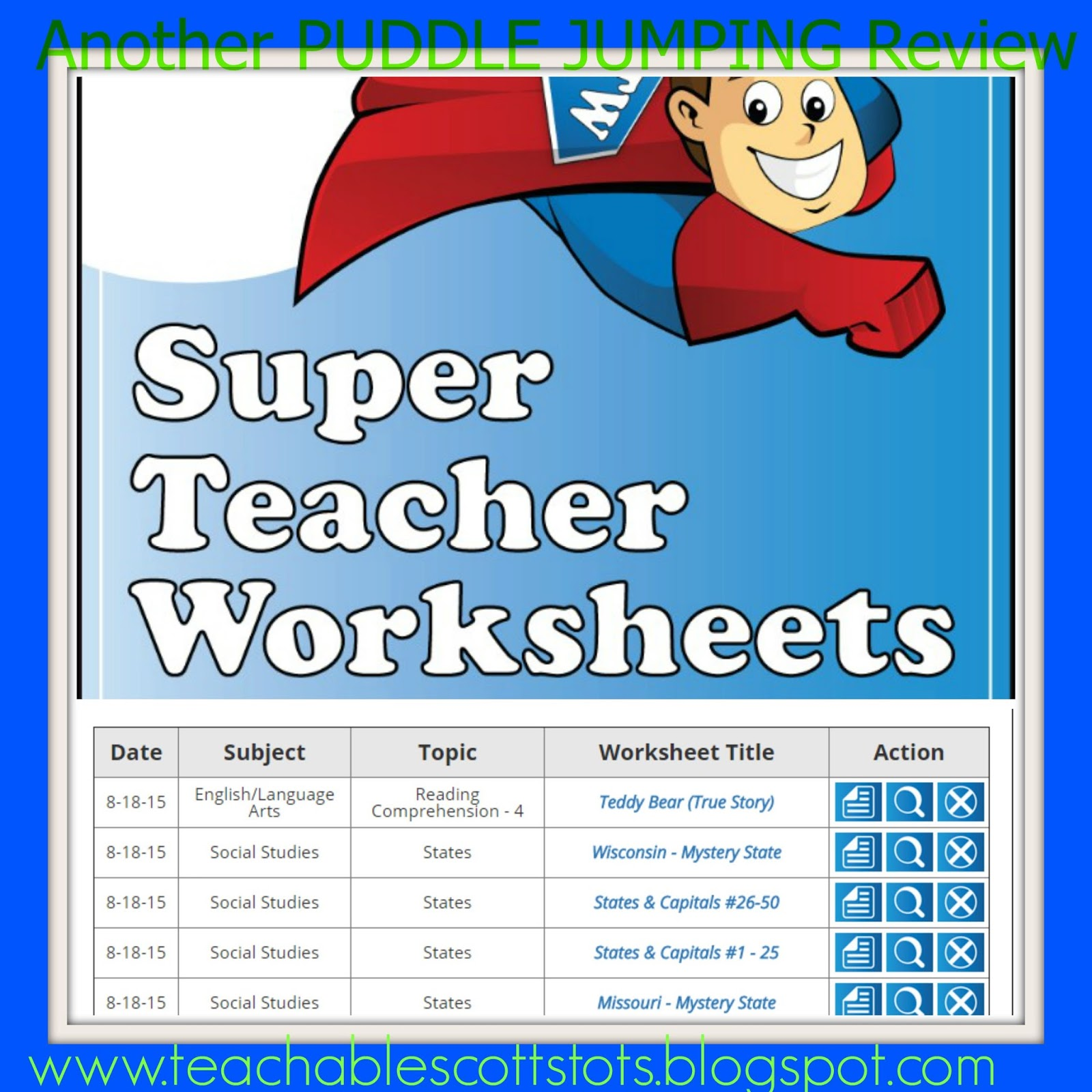 Puddle Jumping: TOS Review - Super Teacher Worksheets