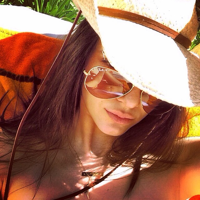 Kendall Jenner has fun in the sun with a bar necklace
