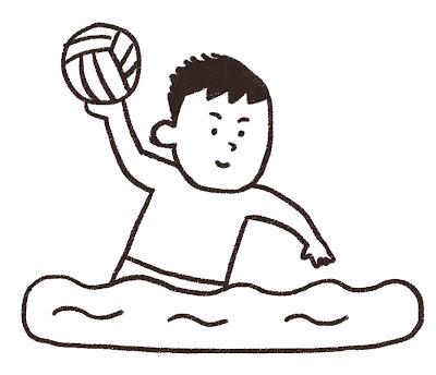 水球選手のイラスト モノクロ線画
