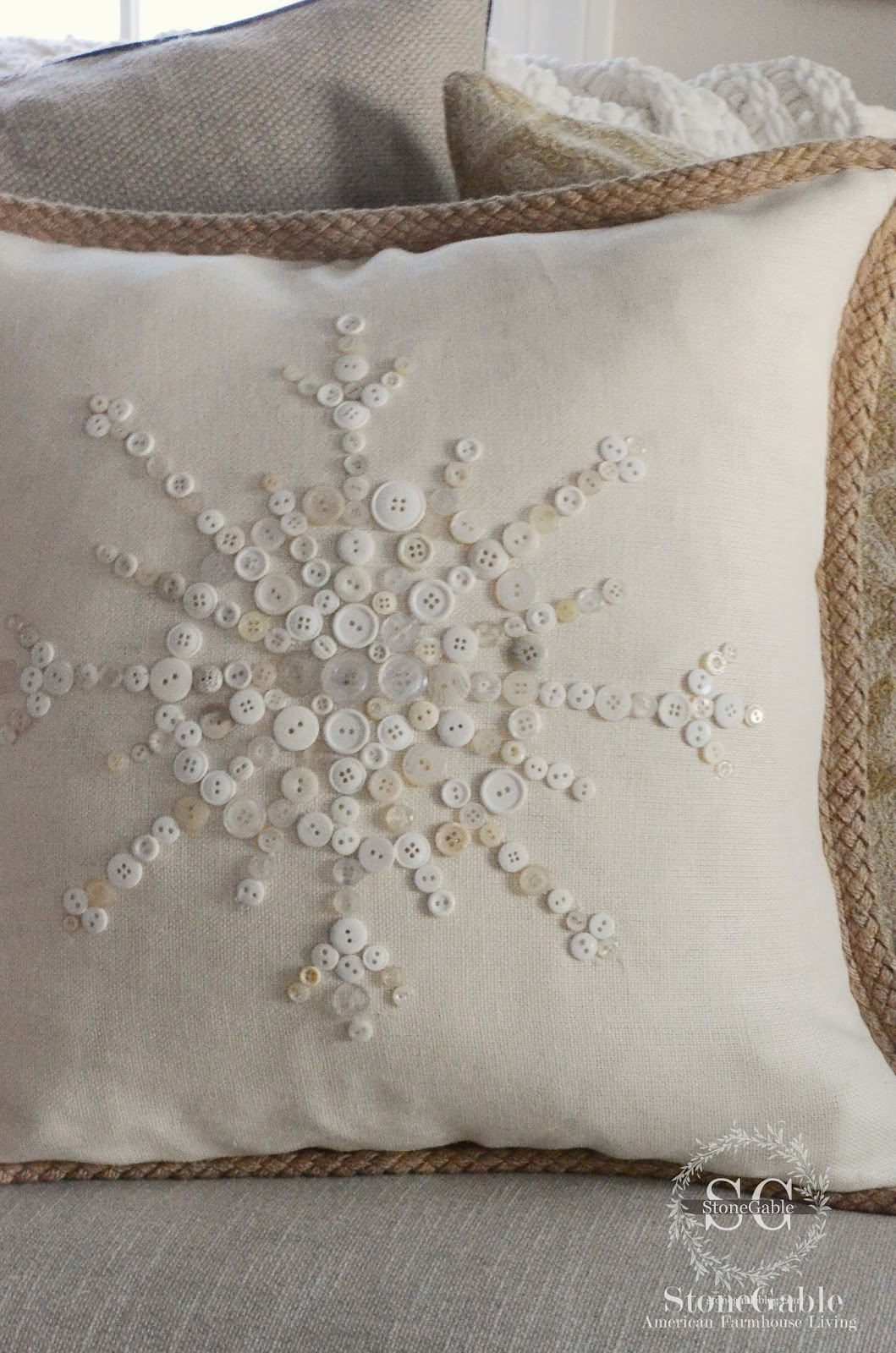 No- Sew Snowflake Button Pillow