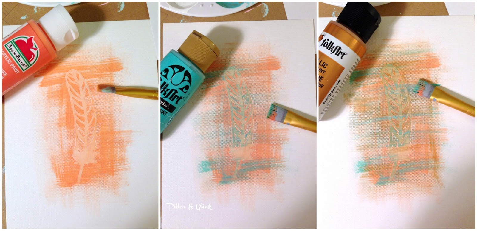 The only talent needed to create this DIY art is to be able to brush paint over paper.  pitterandglink.com
