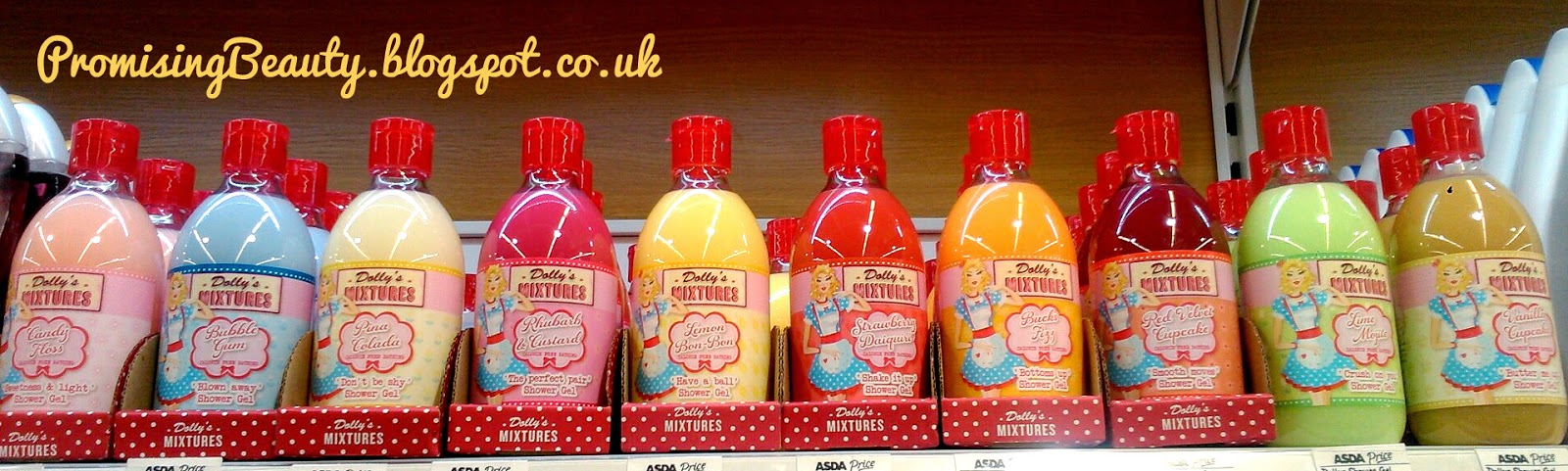 Dollys mixtures shower gel, bubble bath on asda shelf, full range of flavours
