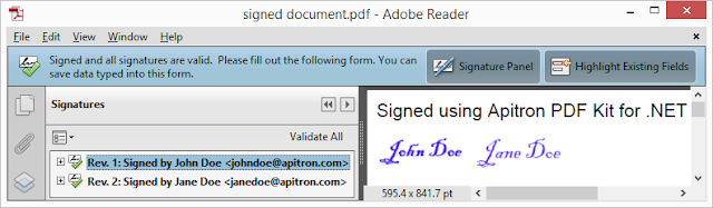 Pic. 2 Signing PDF with multiple signatures