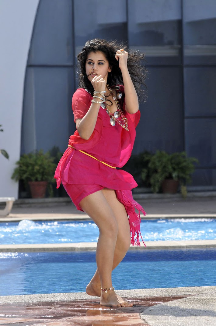 Tapsee Hot Wallpapers in Red Dress