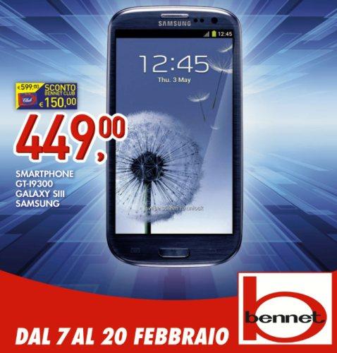 Ottima offerta con prezzo promozione nel volantino di Febbraio di Bennet che propone il Galaxy S 3 a 449 euro