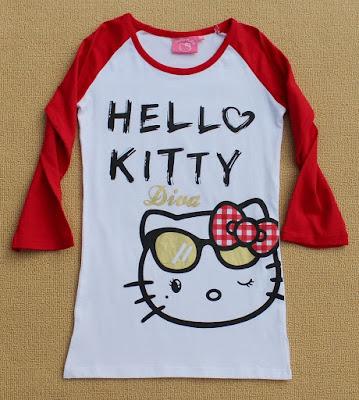 Model Kaos Raglan Motif Hello Kitty Cantik