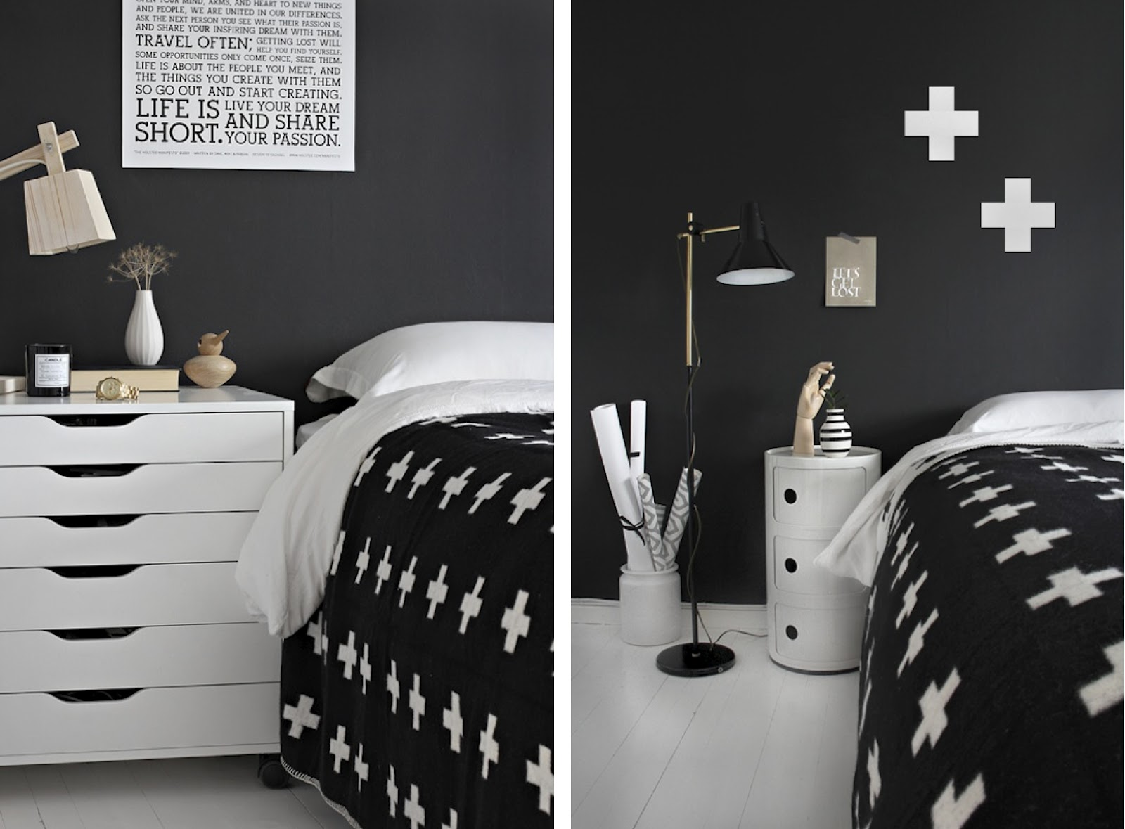 Black white yellow black and white bedroom for Black n white bedroom