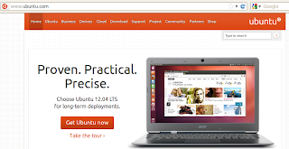 Ubuntu 12.04 at Ubuntu website home page
