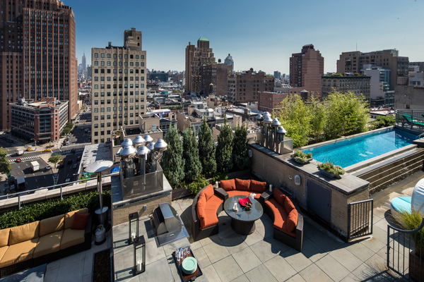 Photo of large rooftop terrace of 66 Leonard Street penthouse
