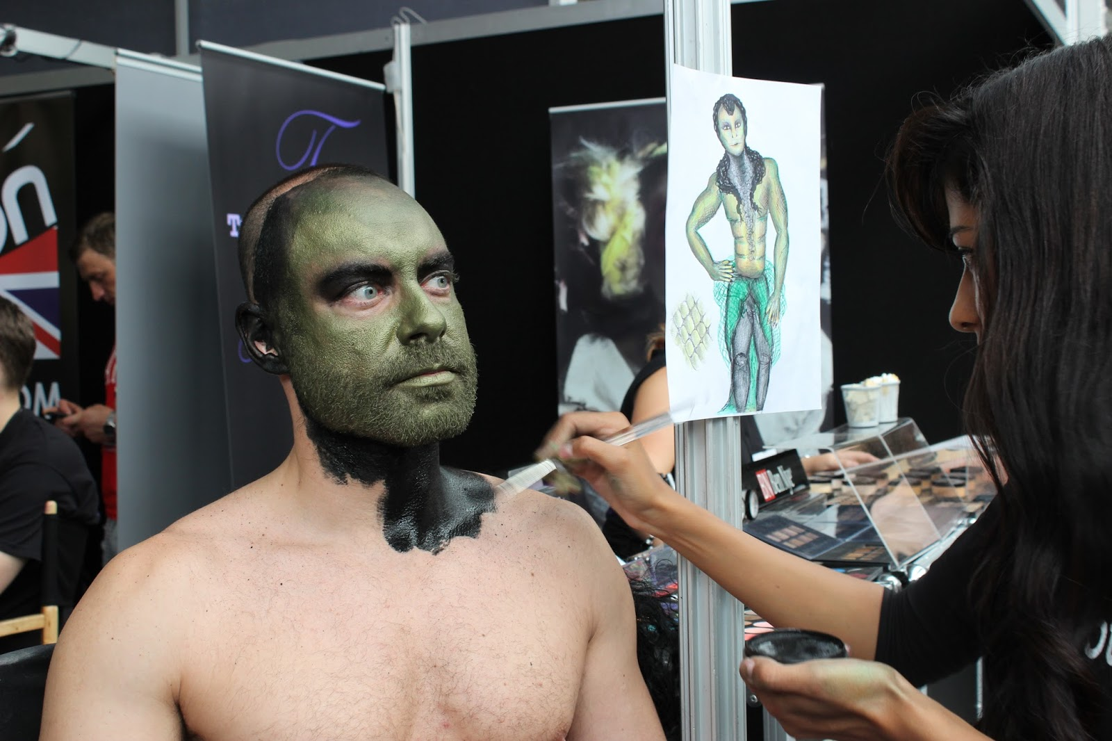 IMATS london 2014 body painting puck transformation