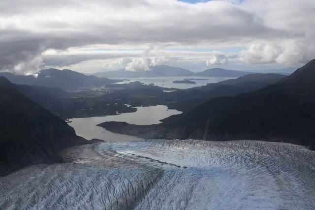 Helicopter View of Mendenhall Glacier and Lake