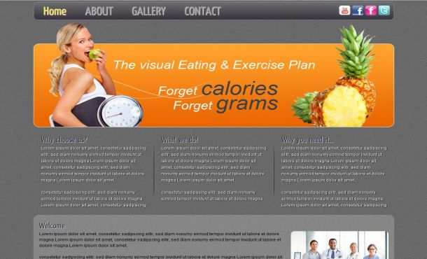 Grunge Gray Health Diet CSS Template