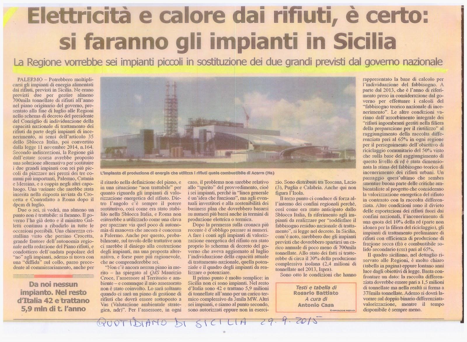 Isola pulita la sicilia dice s agli inceneritori for Pti regione sicilia