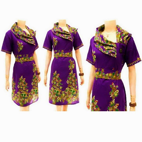 DB3767 Model Baju Dress Batik Modern Terbaru 2014
