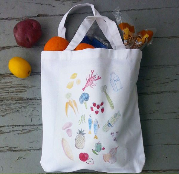 retro foods watercolor tote bag from wacky tuna on etsy