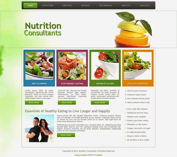Nutrition Consultants - Free Joomla! Template