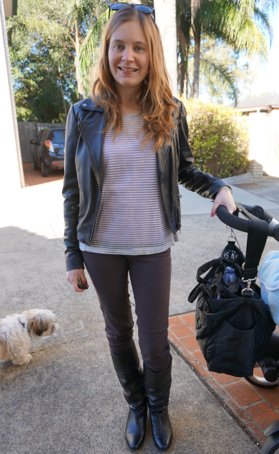 leather jacket stripe tee skinny jeans and boots winter SAHM outfit