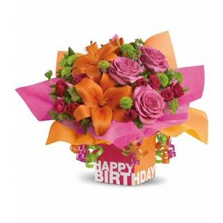 Teleflora Rosy Birthday Present Bouquet