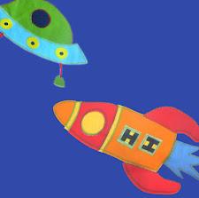 Tela cohetes y naves azul