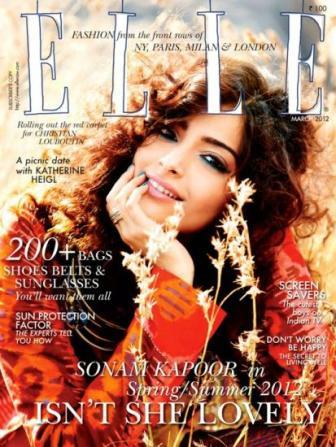 Sonam Kapoor Elle Cover1 - Sonam Kapoor on the cover of Elle India March 2012
