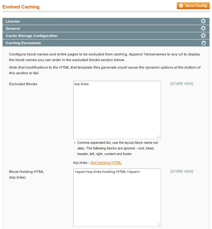 Setting block holding HTML