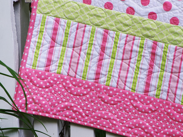 Pink and Green Stripey Quilt