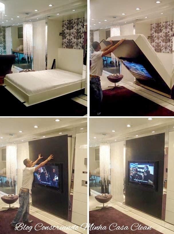 ... de espa?o! Quarto e sala no mesmo ambiente e a TV? Embutida na cama