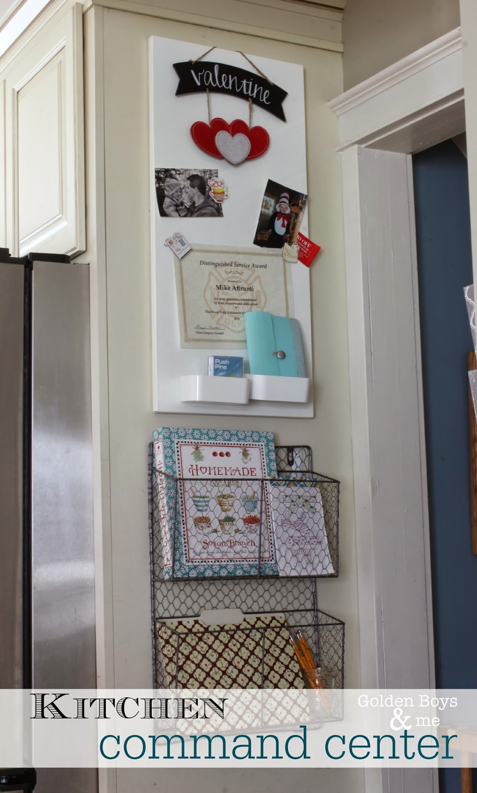 Kitchen Command Center with wire basket and Ikea magnetic message board-www.goldenboysnadme.com