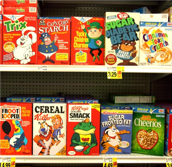 Cereal boxes by Ron English