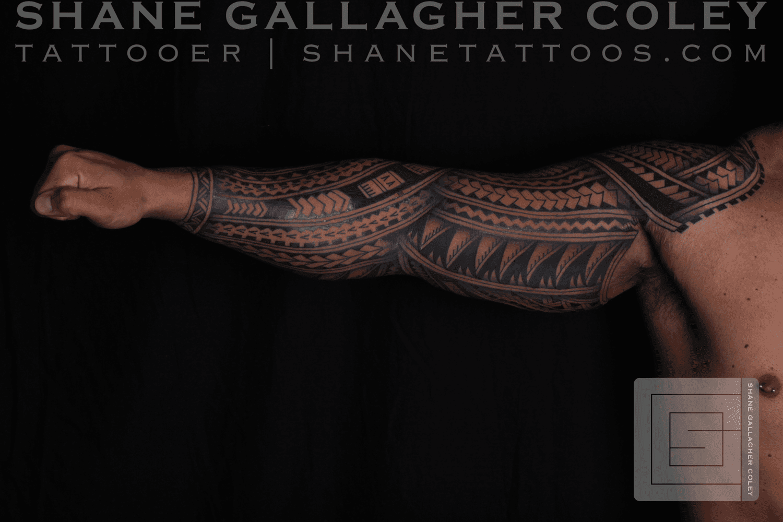 SHANE TATTOOS Polynesian Sleeve Tattoo Tatau