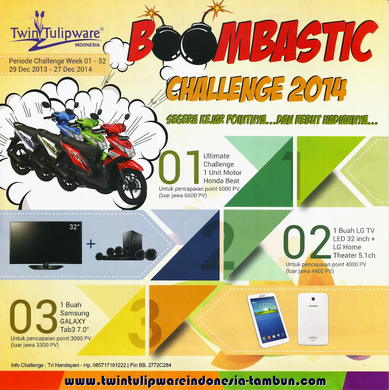 Challenge Tulipware 2014, New Honda Beat, LED LG TV 32, Home Theater, Samsung Galaxy Tab 3