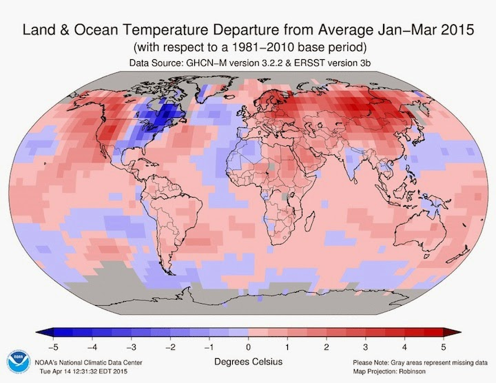 How surface temperatures around the world varied from the 20th century average over the period from January to March 2015. (Credit: NOAA)  Click to Enlarge.