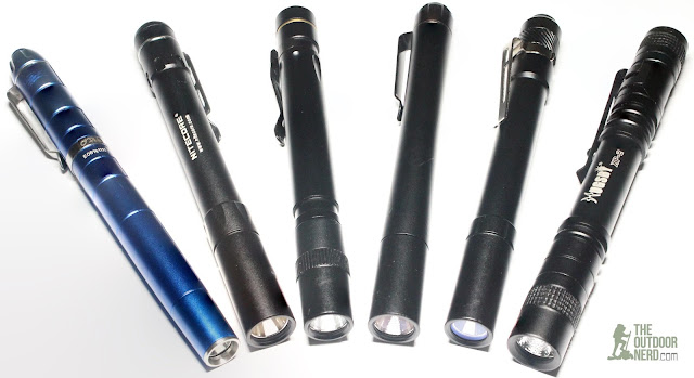 From Left: Olight O'Pen, Nitecore MT06, Vuan Pl90, Thrunite Ti4, Thorfire PF04, Hugsby Mini