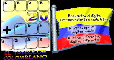 criptoaritmética, alfamética, criptoaritmética para niños, criptoaritmética con solución, criptosumas, criptogramas, juego de letras, 20 de julio, Día de la Independencia de Colombia, problemas de ingenio, acertijos matemáticos, problemas matemáticos