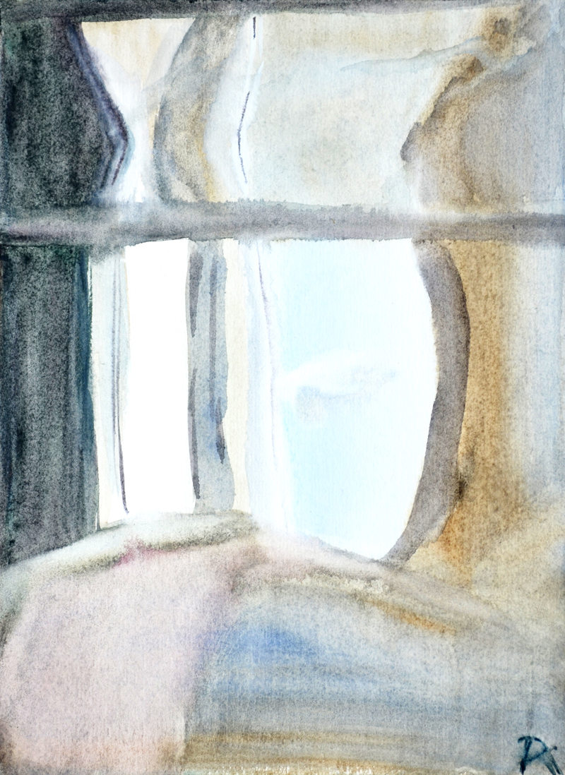 minimal watercolor painting, natural colors, restrained colors, blue sky, window view, geometric composition, refraction