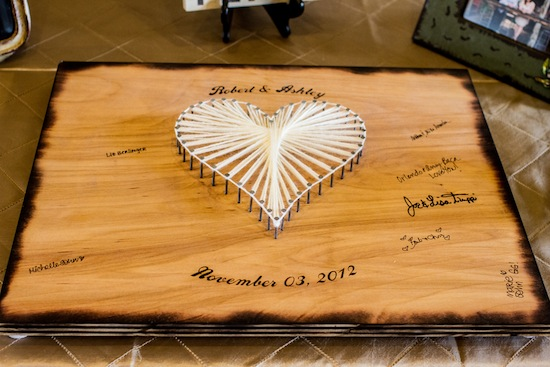 an unique wooden guestbook