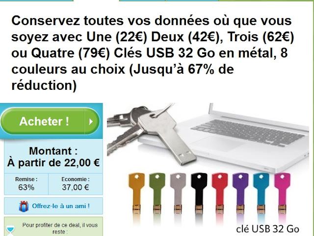 22€ la clef usb de 32go au lieu de 59€ ! Un design tendance, en forme de vraie clé