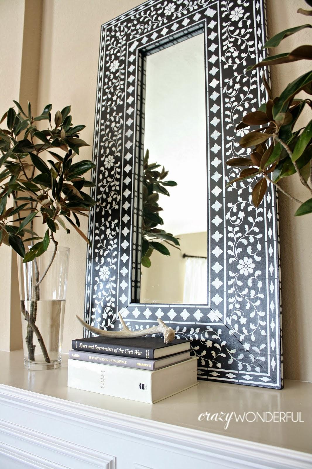 DIY Inlay Mirror Stencil