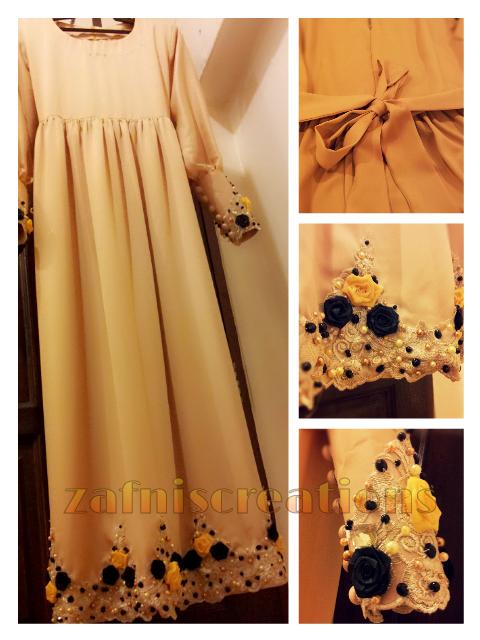 Jubah dress warna gold