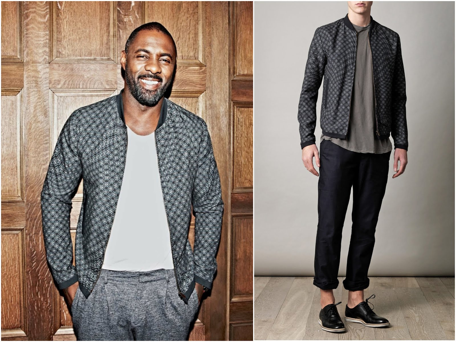 Idris Elba in Carven Menswear Dual Weave sweater and Dolce Gabbana printed bomber jacket - ES Magazine
