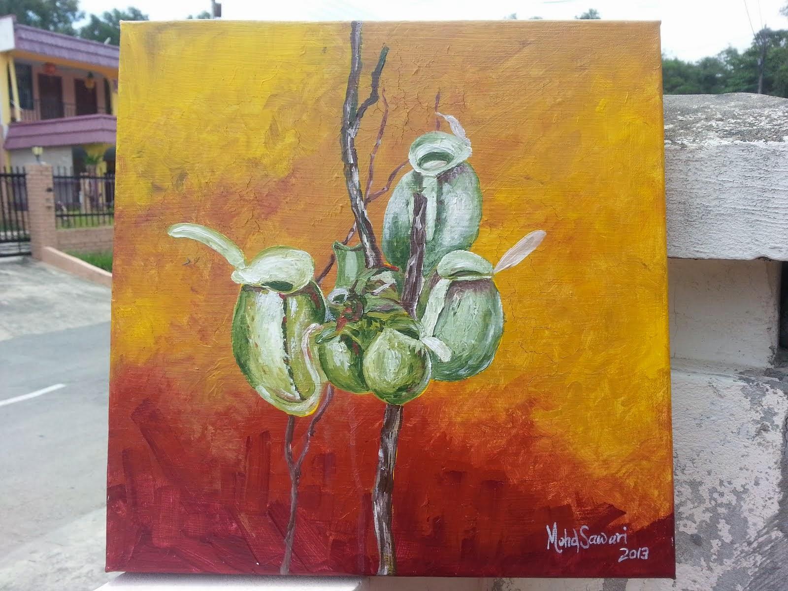 Periuk Kera di Taman Larangan. Akrilik. 12X12Inci