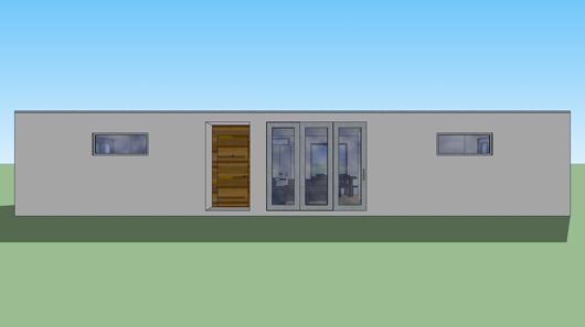 Fachada y plano arquitect nico de casa habitaci n estilo for Casa minimalista rectangular